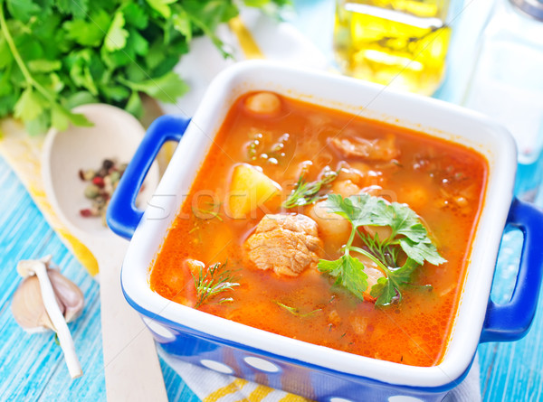 Sopa de frijol cocina pan cocina zanahoria comer Foto stock © tycoon