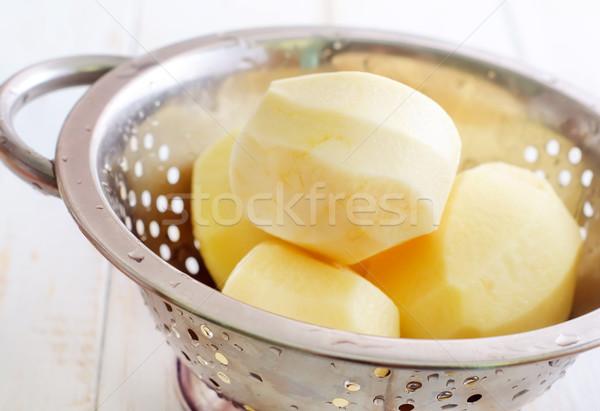 raw potato in the metal bowl Stock photo © tycoon