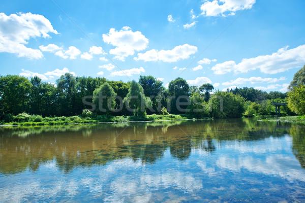 Сток-фото: озеро · Blue · Sky · дома · дерево · весны · лес