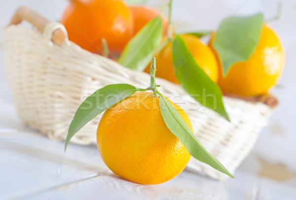 Mandalina yaprak sağlık arka plan turuncu tablo Stok fotoğraf © tycoon