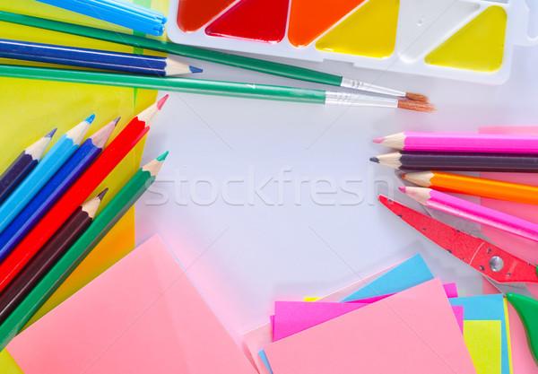 Schoolbenodigdheden boek school verf potlood achtergrond Stockfoto © tycoon