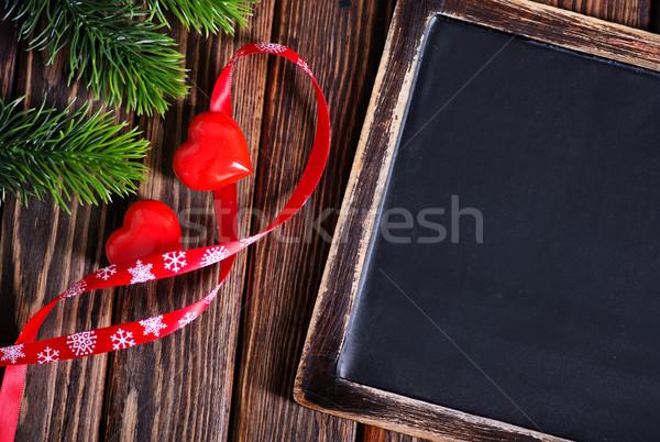 Noel dekorasyon ahşap masa arka plan kış karanlık Stok fotoğraf © tycoon
