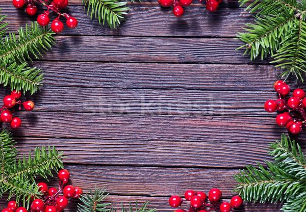 Natale decorazione tavolo in legno albero alimentare sfondo Foto d'archivio © tycoon