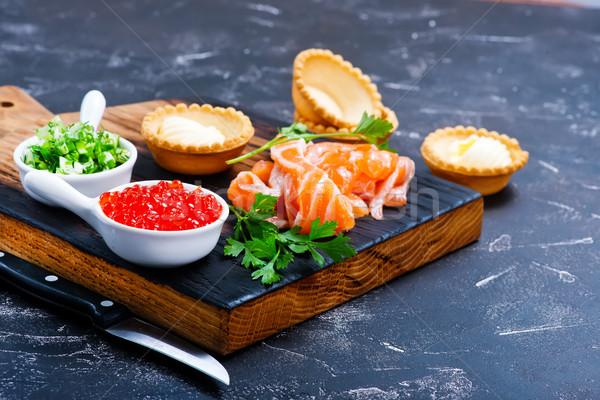 Deniz ürünleri somon balık havyar tablo gıda Stok fotoğraf © tycoon
