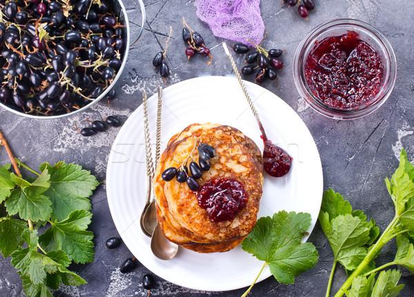 Stok fotoğraf: Krep · tatlı · reçel · plaka · gıda · arka · plan