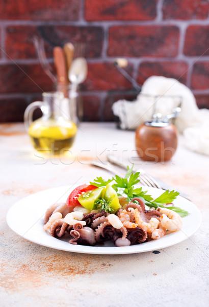 Сток-фото: Салат · морепродуктов · пластина · складе · фото · вино