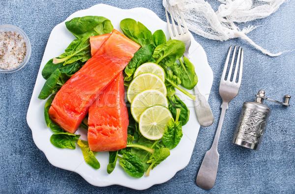 Somon limon taze ıspanak diyet gıda Stok fotoğraf © tycoon