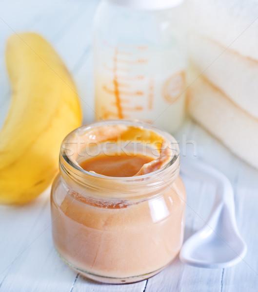 Alimento para bebé bebé frutas nino plátano cuchara Foto stock © tycoon