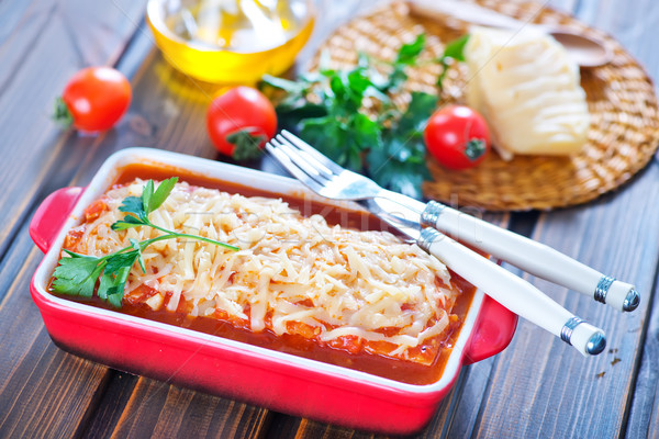 Lasagne viande fromages bol alimentaire fond Photo stock © tycoon
