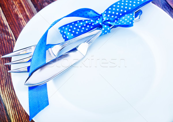 Arts de la table fourche couteau blanche plaque table Photo stock © tycoon