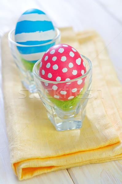 Ovos de páscoa páscoa flor textura madeira brinquedos Foto stock © tycoon