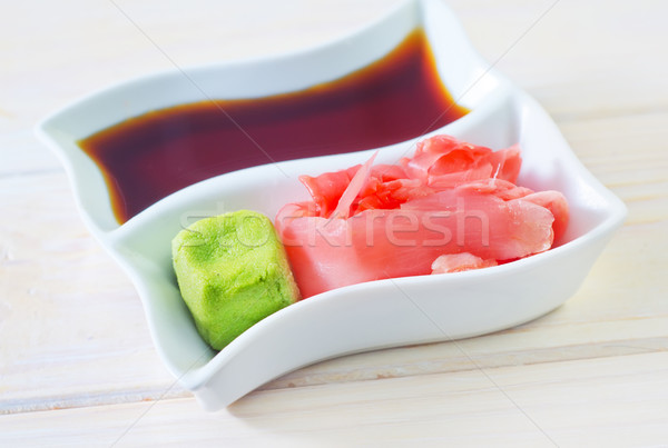 Stock photo: soy sauce, vasabi and ginger