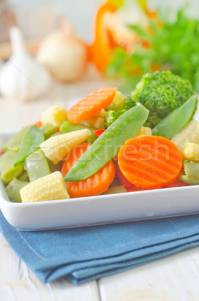 野菜 夏 ディナー プレート フォーク 白 ストックフォト © tycoon