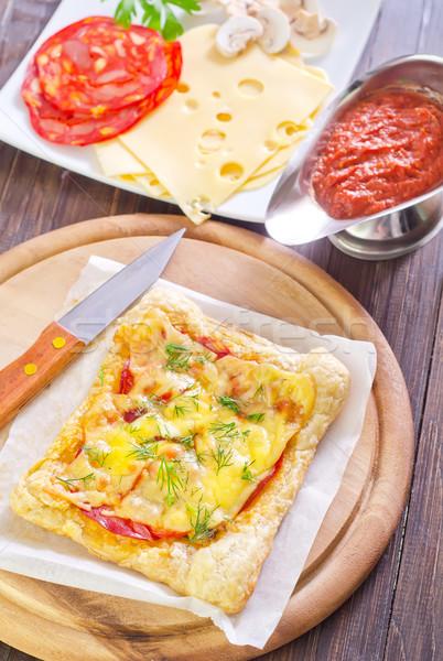 Сток-фото: пиццы · домой · нефть · черный · томатный · пирог