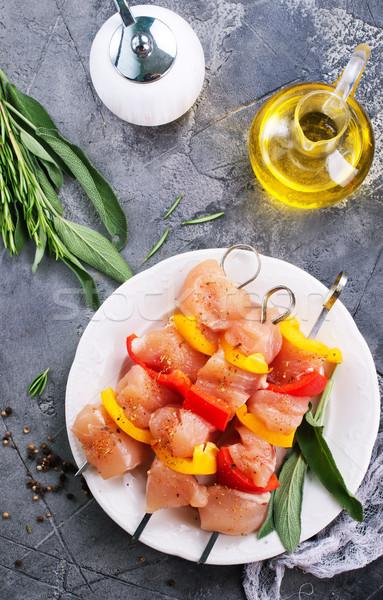Сток-фото: сырой · куриные · кебаб · перец · пластина · продовольствие