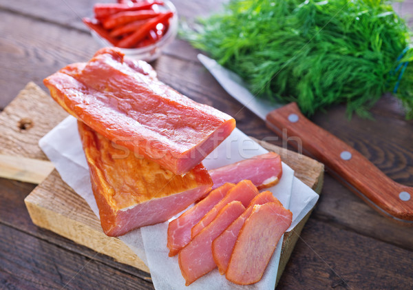 Fumado carne tabela comida jantar Foto stock © tycoon