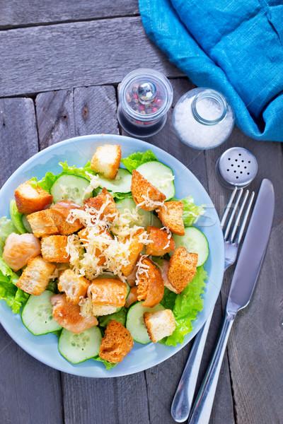 Caesar salade voedsel borst kip brood diner Stockfoto © tycoon