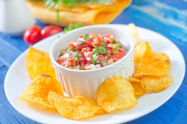 Salsa nachos ahşap cam tablo içmek Stok fotoğraf © tycoon