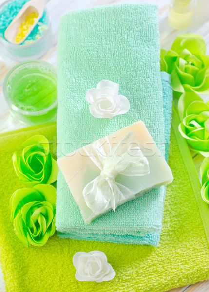 Sal marina jabón cuerpo azul spa blanco Foto stock © tycoon