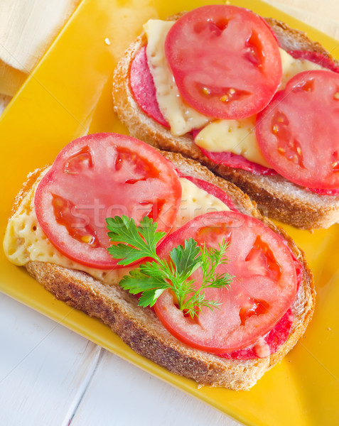 bread with cheese and tomato Stock photo © tycoon
