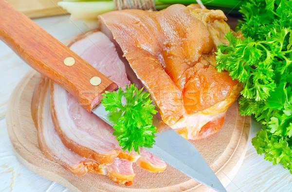 薫製 食品 肉 脂肪 ボード 大理石 ストックフォト © tycoon