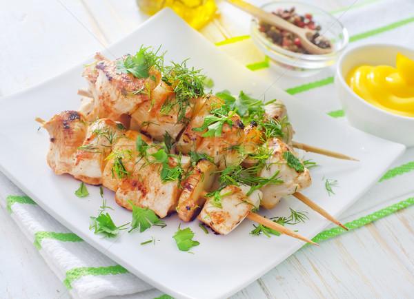 新鮮な ケバブ 食品 背景 レストラン サラダ ストックフォト © tycoon
