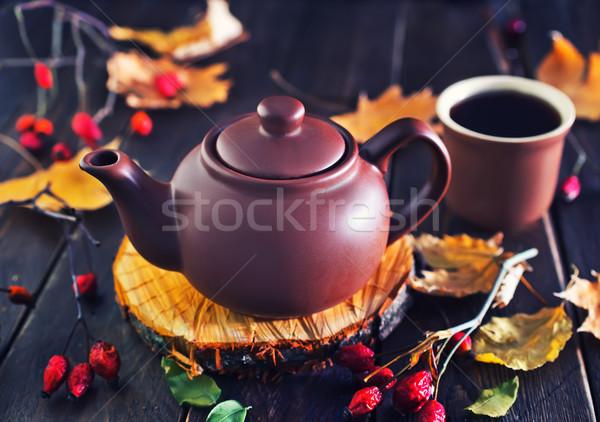 Taze çay demlik ahşap masa ahşap arka plan Stok fotoğraf © tycoon