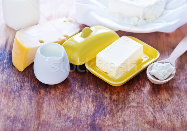 Melk producten houten tafel huisje boter voedsel Stockfoto © tycoon