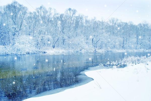 Foto stock: Invierno · río · paisaje · nieve · belleza · blanco
