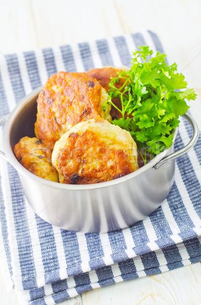 Foto stock: Vaca · verde · frango · jantar · prato · carne