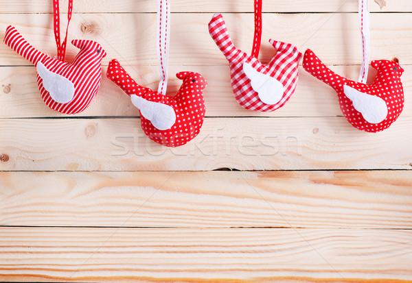 Noel dekorasyon ahşap masa kâğıt ağaç arka plan Stok fotoğraf © tycoon