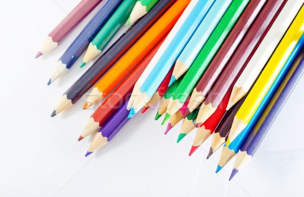 Színesceruza ceruzák iroda diák ceruza zöld Stock fotó © tycoon