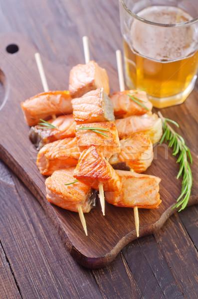 Salmão quibe comida peixe laranja almoço Foto stock © tycoon
