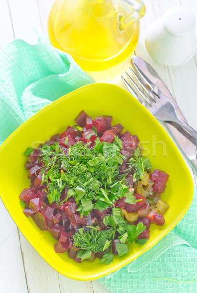 Salata gıda yağ kırmızı plaka beyaz Stok fotoğraf © tycoon