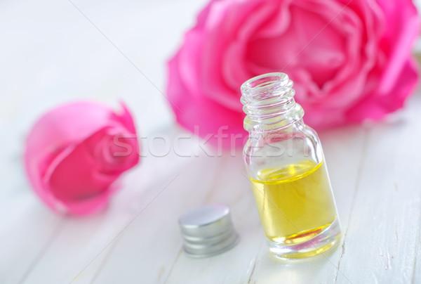Lezzet yağ şişe çiçek gül tıbbi Stok fotoğraf © tycoon