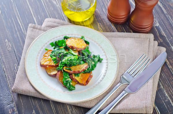 Patata dolce spinaci piatto forcella pomodoro bianco Foto d'archivio © tycoon