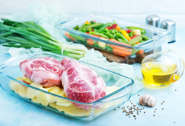 Hortalizas carne tazón crudo vidrio alimentos Foto stock © tycoon