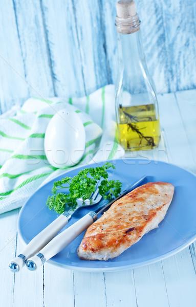 Poitrine de poulet plaque table alimentaire restaurant poulet Photo stock © tycoon