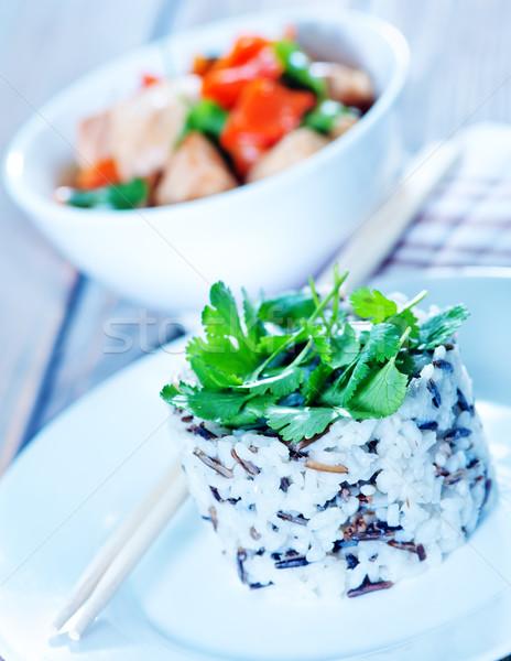 Főtt rizs tányér asztal pálma űr Stock fotó © tycoon