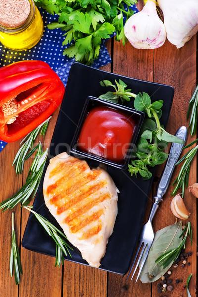 Stok fotoğraf: Tavuk · kızartma · sos · tablo · arka · plan · meme · tavuk
