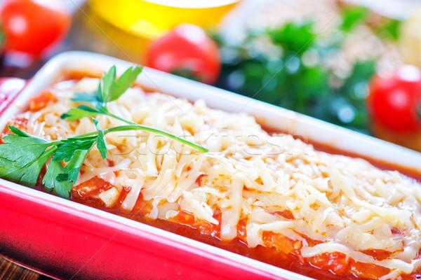 ラザニア 肉 チーズ ボウル 食品 背景 ストックフォト © tycoon