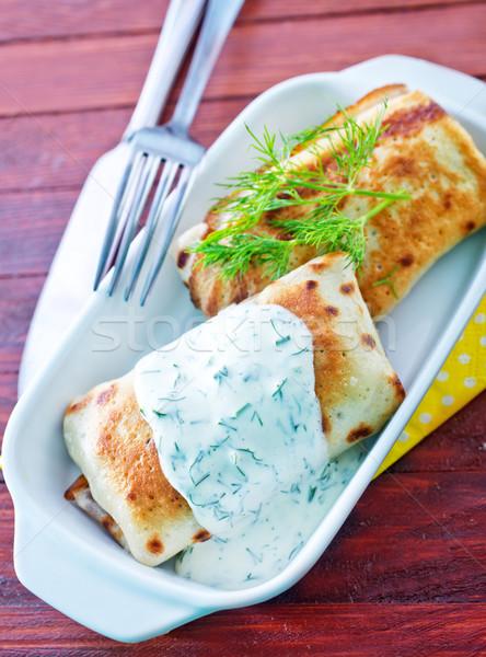 pancakes with sour cream Stock photo © tycoon