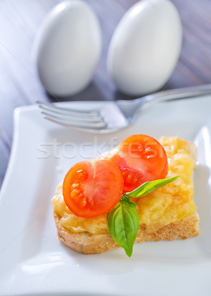 麵包 羅勒 奶酪 紅色 早餐 吃 商業照片 © tycoon