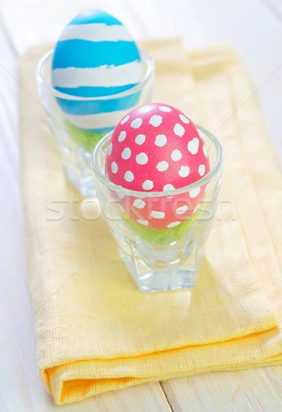 Ovos de páscoa páscoa flor madeira brinquedos doce Foto stock © tycoon