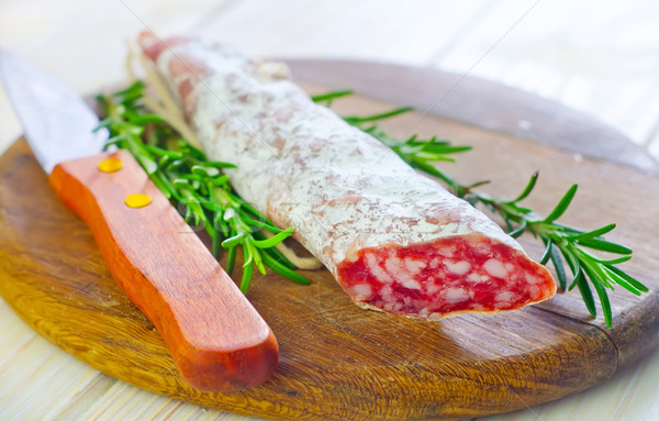 Salami alimentaire pain rouge viande bord Photo stock © tycoon