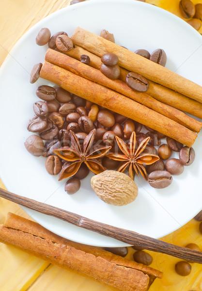 Aroma Spice koffie voedsel ontwerp plaat Stockfoto © tycoon