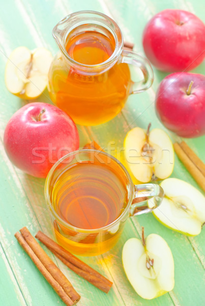 リンゴジュース 木材 リンゴ 表 ジュース 液体 ストックフォト © tycoon