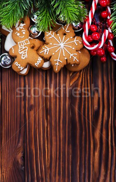 Gengibre bolinhos natal tabela casa árvore Foto stock © tycoon