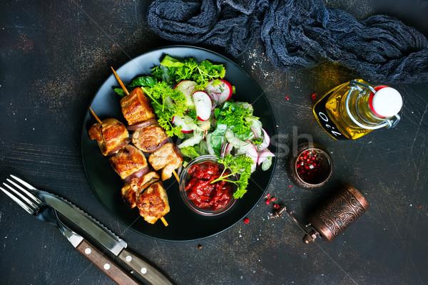Kebab plantaardige salade plaat vlees Stockfoto © tycoon