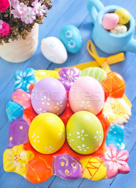 Пасху пасхальных яиц деревянный стол цвета яйца дизайна Сток-фото © tycoon